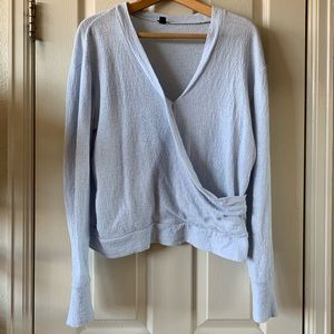J. Crew Tops - Light blue J. Crew faux-wrap top in textured crepe